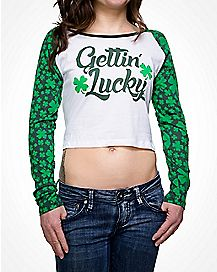 Gettin Lucky Clover St Patricks Day Crop Top