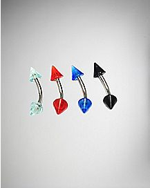 16 Gauge Cone Curve Barbell Eyebrow Ring 4 Pack