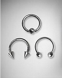 Captive  Septum Nose Ring 3 Pack -14 Gauge