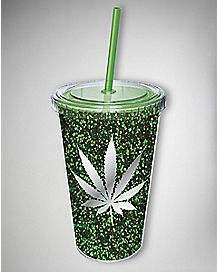 Green Glitter Leaf Cup with Straw