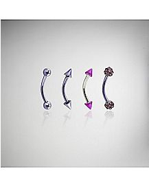 16 Gauge Cz Curve Eyebrow Set 4 Pack - Purple