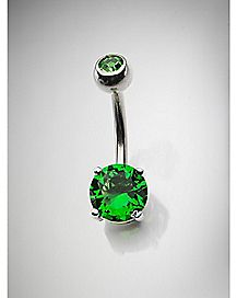 Peridot August Birthstone Belly Ring - 14 Gauge