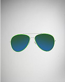 Aviator Sunglasses- White Green