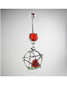 Red Rose Pentagram Dangle Belly Ring - 14 Gauge