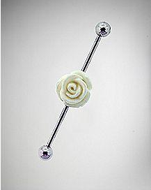14 Gauge Flower Industrial Barbell - White