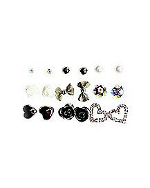 Heart Flower Bow Stud Earrings - 9 Pair