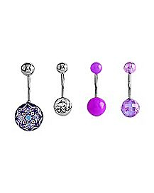 14 Gauge Colored Curve Barbell Belly Ring 4 Pack - Purple