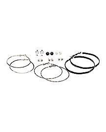 Black Cross Hoop Earrings 6 Pack