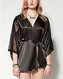 Lace Sleeve Satin Robe