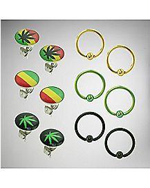 Leaf Rasta Stud & Captive Earring Set