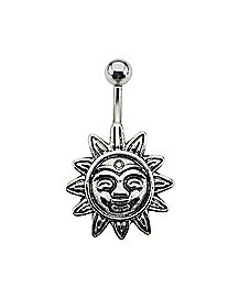 Sun Barbell Belly Ring - 14 Gauge