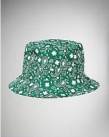 Paisley Clover Bucket Hat Green