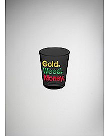 Gold Weed Money Shot Glass 1.5 oz