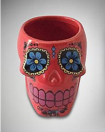 Coral Molded Skull Shot Glass 2 oz Ceramic