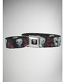 Skulls Punisher Seatbelt Belt Red