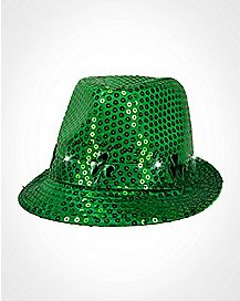 LED Green Sequin Fedora