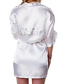 Satin Rhinestone Bride Robe