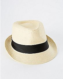 Straw with Black Band Baby Fedora Hat