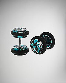 Blue Black Speckle Fake Plug Set