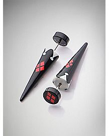 Harley Quinn Fake Taper Earrings 2 Pack