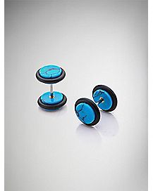 Turquoise-Effect Fake Plug Earring
