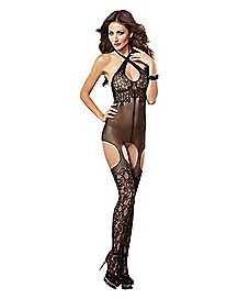 Fishnet Lace Bodystocking with Garters