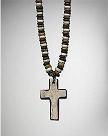 Wood Cross Charm Necklace