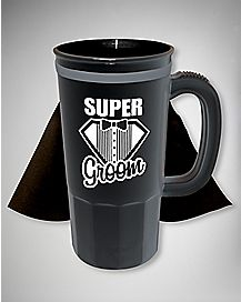 Caped Super Groom Beer Mug 16 oz