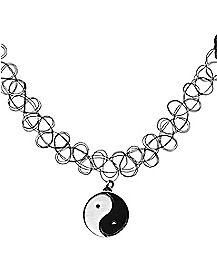 Tattoo Yin Yang Choker Necklace