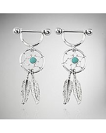 Dream Catcher Dangle Nipple Rings - 14 Gauge