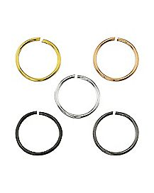 Hoop Nose Ring 5 Pack - 20 Gauge