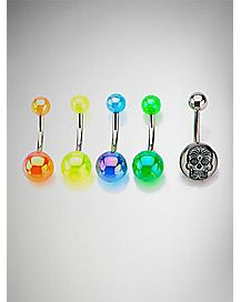 Colored Sugar Skull Belly Ring 5 Pack - 14 Gauge