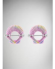 Pink Shell Nipple Ring  - 14 Gauge