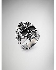 Skull with Cross on Top Ring