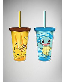 Squirtle & Pikachu Pokemon Cup with Straw 2 Pack