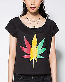 Cutout Rasta Leaf T shirt