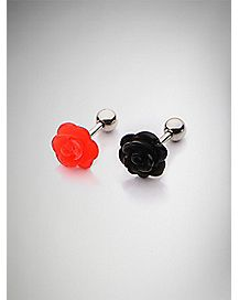 18 Gauge Black Red Rose Cartilage Ring