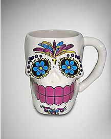 White Candy Sugar Skull Jumbo Coffee Mug