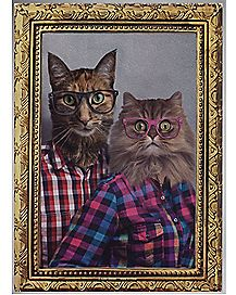 Cat Couple Portrait Metal Sign