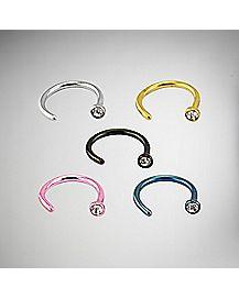 20 Gauge Colored Hoop Nose Ring 5 Pack
