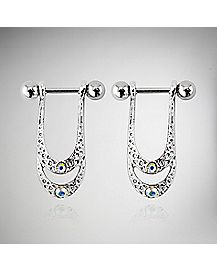 Double Gem Ornate Nipple Set - 16 Gauge