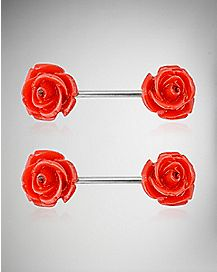 14 Gauge Red Rose Nipple Rings