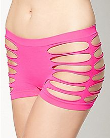 Side Cut Out Boyshort Panty - Fuchsia