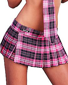 Hustler Plaid School Girl Skirt - Pink