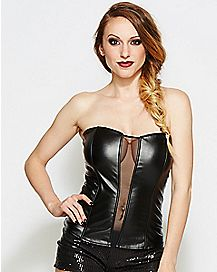 Faux Leather Corset and G-String Panties Set