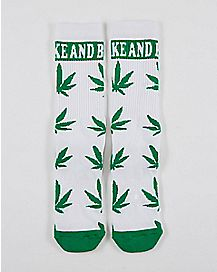 White and Green Leaf Crew Sock