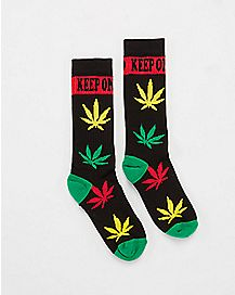 Keep One Rolled Rasta Leaf Socks