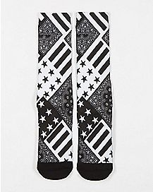 Sublimated Flag Crew Socks Black and White