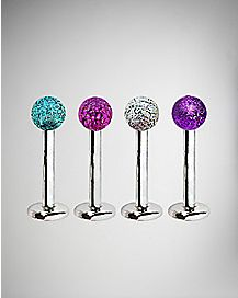 Aqua Pink & Purple Labret Lip Ring 4 Pack - 16 Gauge