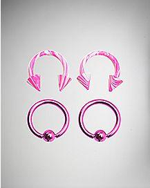 14 Gauge Pink Captive Horseshoe Hoop 4 Pack